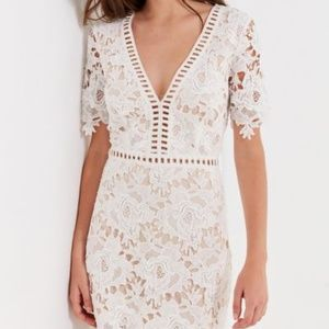 UO White Floral Lace Ladder Mini Dress M